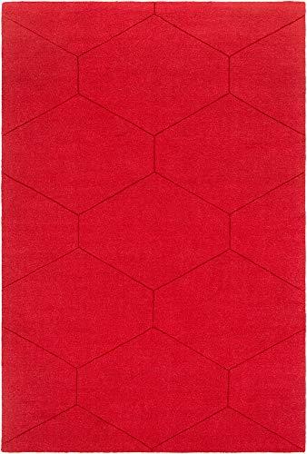 Border Wool Rug - Sundown Solid Stripes 8' x 10' Rectangle Solid & Border 100% Wool Dark Red Area Rug