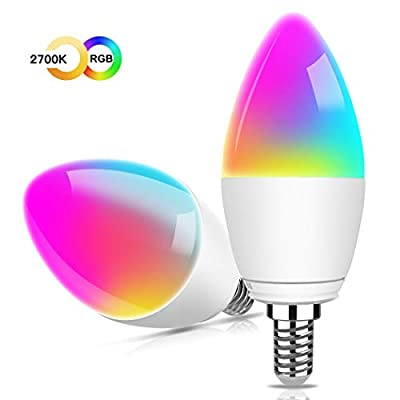 Smart LED Candalabra Light Bulbs - Aoycocr 5W 400 Lumens E12 Ceiling Fan Light Bulb, 2700K Soft White & RGB Candle Bulb - Works with Alexa Google Home for Home Festival Decor, No Hub Required (2 Pack)