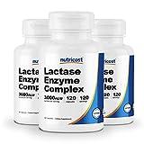 Nutricost Lactase Enzyme Complex 3,000 FCC ALU, 120 Veggie Capsules - Non-GMO, Gluten Free, 120 Servings (3 Bottles)