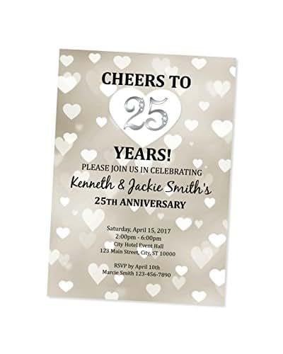 Silver Wedding Invitations Amazon: Amazon.com: 25th Wedding Anniversary Invitation, Hearts
