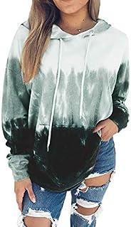 FASHIONMIA Women Fall Stylish Loose Hoodies Tops Shirts Color Block Print Thin with Pocket