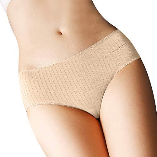 Womens Triangle Briefs,JKioleg Lingerie Soild Color Knickers Open Thong Panties G-Pants Underpants Pajamas (L, Khaki)