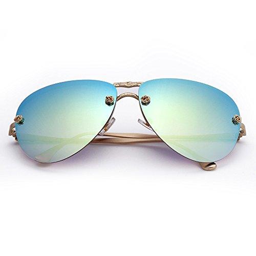 Menton Ezil Retro Fashion Gold Metal Frame Gradient Lens Rose Aviator Sunglasses Teardrop Rimless Shades UV400 Protection (Gold Frame | Gradient Green with case, 2.35)