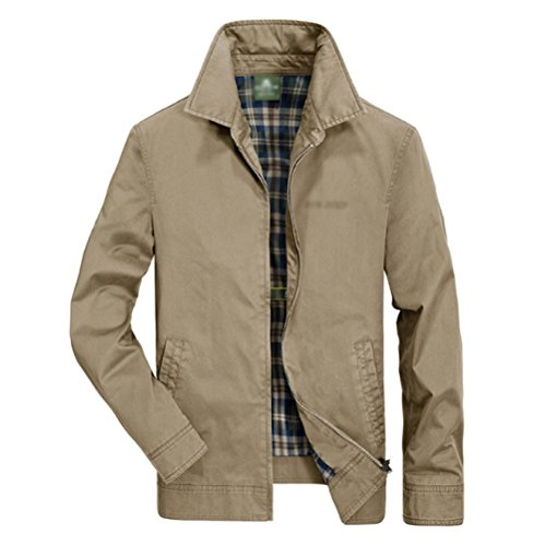 Washed Men Coat Casual Lapel Middle aged Cotton Khaki Fashion Men Jackets Urban ARxUwqzOR