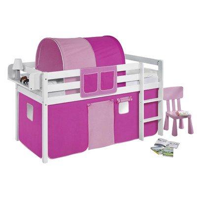 Lilokids Spielbett Jelle, TÜV und GS geprüft, Hochbett mit Vorhang und Lattenrost Kinderbett, Holz, rosa, 208 x 98 x 113 cm