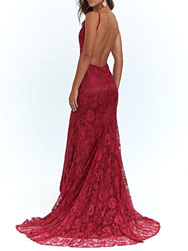 Dress With Long Evening Wine Sexy Slit Gowns Dressylady Red Neck Backless Lace V Mermaid Prom ZXH11Pq0wx