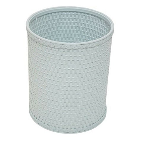 Chelsea Collection Decorator Color Round Wicker Wastebasket R426WH (Illusion Blue)