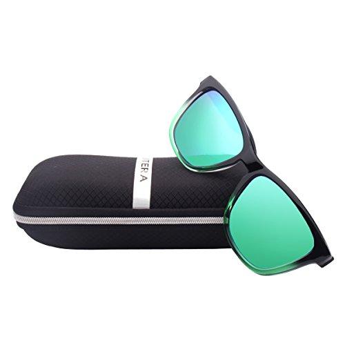 ELITERA Women Sunglasses Famous Lady Designer Gradient Colors Polarized Glasses UV400 E0717 (Black&Green, - Polarized Sunglasses Ladies