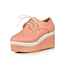 WeenFashion Women's Soft Material Round Closed Toe High-Heels Lace-up Solid Pumps-Shoes