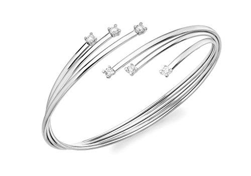 Bracelet Jonc or blanc 9carats Pierre Flexible Style Russe
