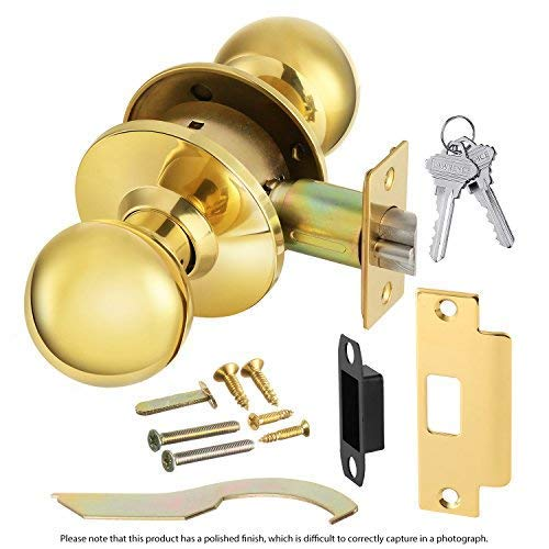 Commercial Grade 2 Keyed Closet Storeroom Door Knob Handle with Cylindrical Lockset, Polished Brass, Non-Handed, by Lawrence Hardware