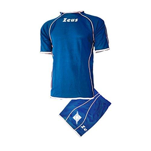 Zeus Kit Shox Herren Kinder Set Fußball Trikot Shirt Hosen Klein Armel Hallenfußball Royal Weiss (XS)