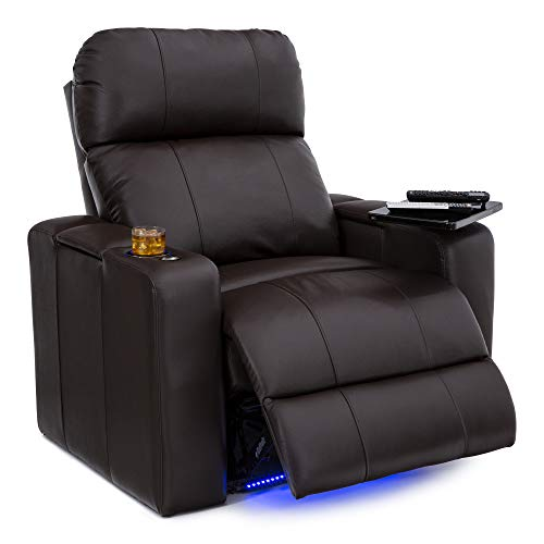 Seatcraft Julius Big & Tall 400 lbs Capacity Home Theater Seating Leather Power Recline with Adjustable Powered Headrest, USB Charging Port, and Lighted Cup Holders and Base, Brown
