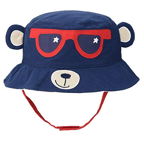 Baby Animal Sun Hat - Toddler Kids Boys Breathable Cartoon Summer Sun Protection Bucket Hat(Navy Blue Monkey,48cm)