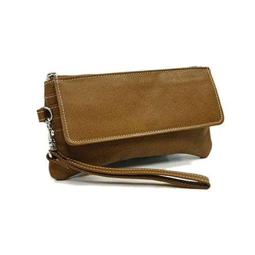 Leather Flap Piel Small (Piel Leather Flap-Over Wristlet, Saddle, One Size)