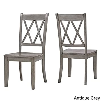 INSPIRE Q Antique Grey Eleanor Double X Back Wood Dining Chair, Set Of 2