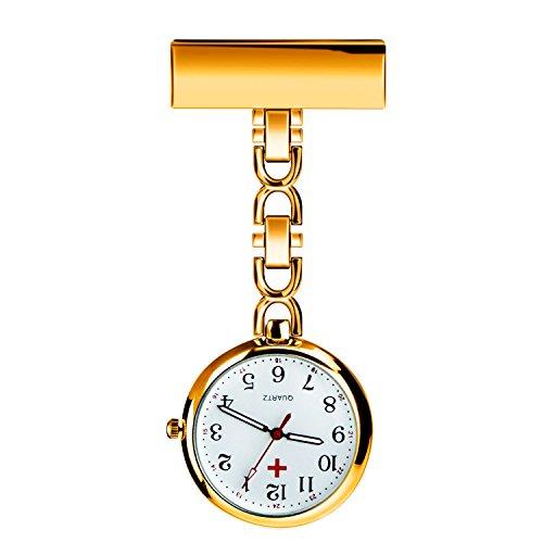 WIOR Nurses Lapel Pin Watch Hanging Medical Doctor Pocket Watch Quartz Movement Nurses Watch with Gift Box -