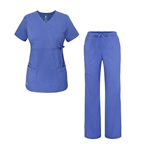 Pop-Stretch Junior Fit Women's Scrub Set - Mock Wrap Tie Top and Cargo Pants - 3502 - Ceil Blue - L - Mock Wrap V-neck Scrub Top