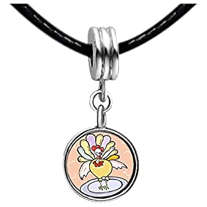 Chicforest Silver Plated beautiful Thanksgiving turkey on serving dish Photo Purple Amethyst Crystal February Birthstone Flower dangle Charm Beads Fits Pandora Charm