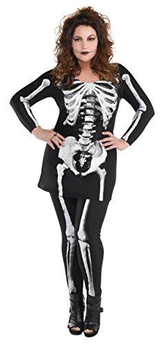 Adult's Bare Bones Skeleton Fancy Dress Party Costume - Plus Size 18-20 -