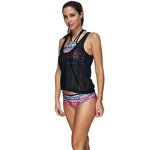 OverDose Mujeres Tribal Imprimido Halter Beach Bikini Set traje de baño Bañador Traje de baño Negro