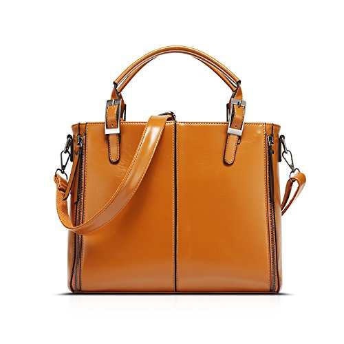 Coolives señoras Retro cuero cubo bolsos para mujer hombro Messenger Bag monedero Marrón