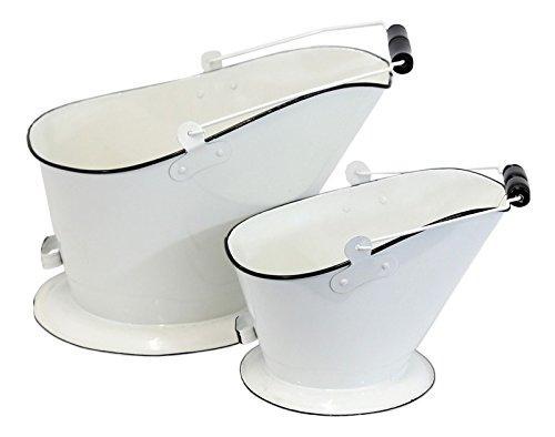 White Enamel Coal Bucket - Set of 2