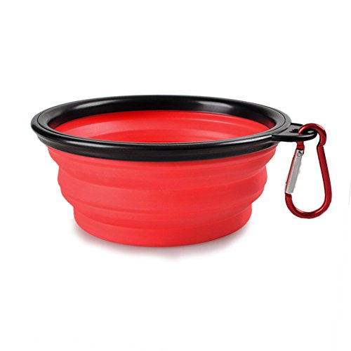- Luck Dawn Collapsible Pet Bowl, Portable Silicone Water and Food Travel Bowls with Carabiner for Dogs Cats