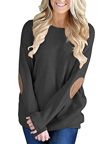 Qiangsoo Womens Casual Long Sleeve Sweatshirt Solid Color Elbow Patch Blouse Tops