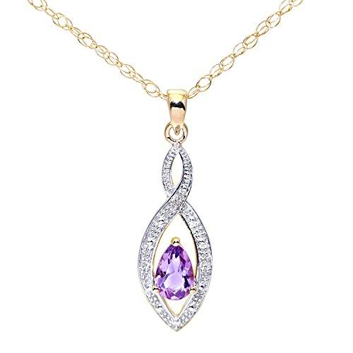 Revoni Bague en Diamant et Améthyste-Or jaune 9carats Pendentif avec chaîne 46cm en design Twist