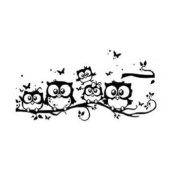 Etiqueta de la pared de BaZhaHei, Niños Vinilo Arte de Dibujos Animados Búho Mariposa Etiqueta