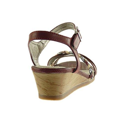 Angkorly - Chaussure Mode Sandale Mule femme lanière tréssé brillant Talon compensé 5 CM - Bordeaux