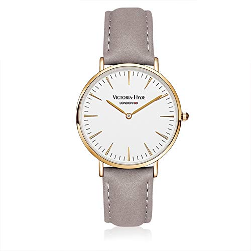 Gold Lover Watch (VICTORIA HYDE Women Men Quartz Wristwatch Gold Case Leather Band Waterproof for Lovers Couple)
