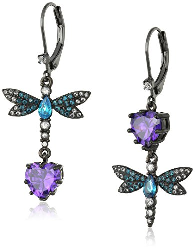 Betsey Johnson Cubic Zirconia Critter Cubic Zirconia and Butterfly Double Mismatch Drop Earring