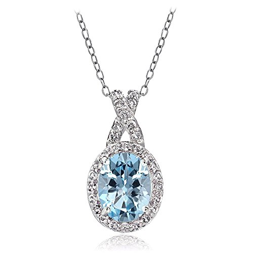 GemStar USA Sterling Silver Blue & White Topaz X and Oval Pendant Necklace for Women Girls ()