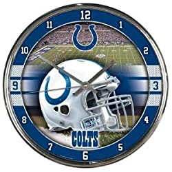 OKSLO Indianapolis Colts Round Chrome Wall Clock