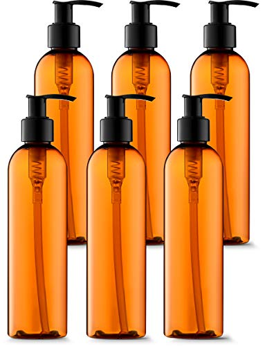 Oz 8 Oil Body (Empty Lotion Bottles 8 Oz. Bullet Ligh-Amber with Black Pump, Great for - Creams, Body Wash, Hand Soap, Self-Tanners, Bronzers and Massage Lotion (Pack of 6))