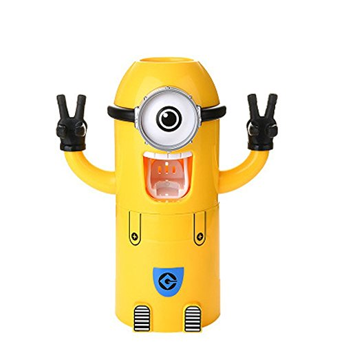 Toothbrush Holder Automatic Toothpaste Dispenser with Brush Cup Cute Minions Design Wash Set Yellow (One eye)