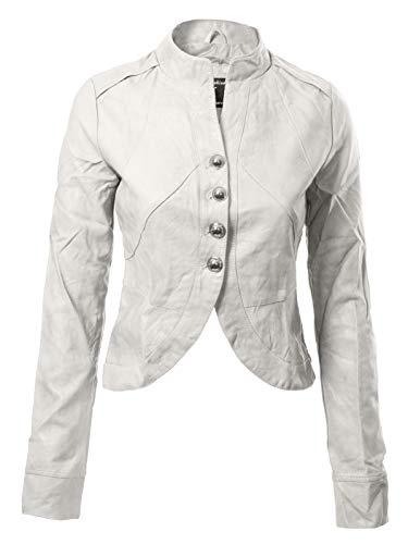 Long Sleeve Faux Leather Jacket Cropped Crop Top White L ()