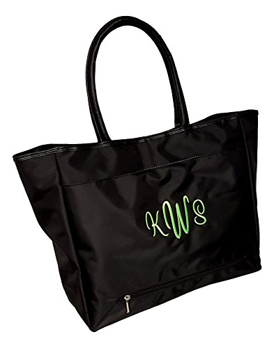 Custom Personalized Large Black Organizing Travel Companion Purse Handbag Bag (Monogrammed - Black)