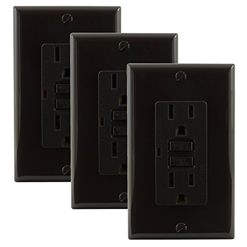 Ground Fault Wall Outlets (GE 17824 GFCI Ground Fault Receptacle - Dark Brown - 3 Pack)