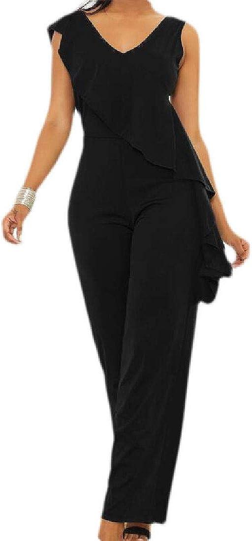 Rrive Women Leisure V Neck Solid Ruffle Jumpsuits Sleeveless Clubwear Pant Romper