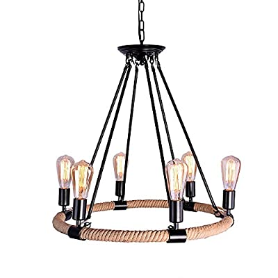 OYI Industrial Retro Vintage Style Chain Hemp Rope Lights Chandelier Pendant Light Lamp Fixture