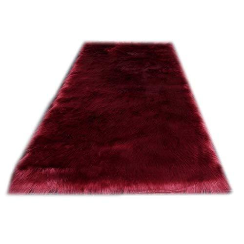 Rectangle Burgundy Faux Sheepskin Area Rug Chair Cover Seat Pad Plain Shaggy Area Rugs For Bedroom Sofa Floor(2' x 4' Sofa Mat)