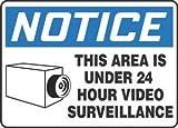 7''Hx10''W Black/Blue/White Aluminum NOTICE THIS AREA IS UNDER 24 HOUR VIDEO SURVEILLANCE Admittance & Exit Sign