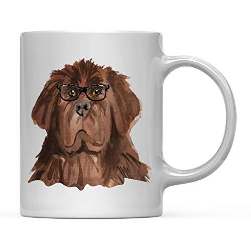 - Andaz Press Funny Preppy Dog Art 11oz. Coffee Mug Gift, Newfoundland in Black Glasses, 1-Pack, Christmas Birthday Present Ideas for Him Her Dog Lover