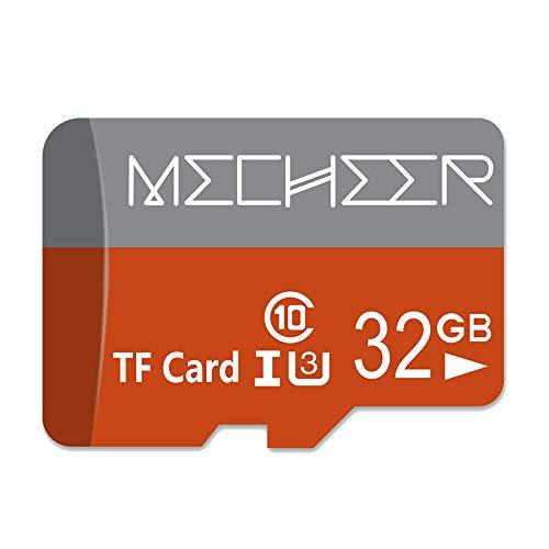 Micro SD Card 32GB, MECHEER Memory Card Micro SDHC Card Mini TF Card Class 10 UHS-I Flash Memory Card High Speed 80MB/s C10, U3, Full HD, 32GB microSD Card, Red/Gray
