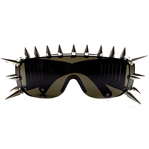 Punk Rocker Large Shield Spike Fashion Novelty Sunglasses -