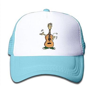 Kkidj Ooii Mesh Baseball Caps Mens&Girls Youth Snapback Hats Funny Cartoon Guitar