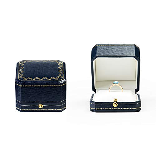 Leather Ring Box - Oirlv Noble Engagement Ring Box Jewelry Gift Case Octagonal Ring Bearer Box